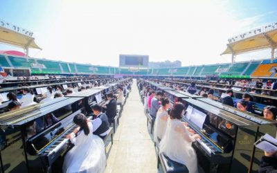 The Guinness World Record for the largest number of people playing pianos was born!